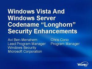 Windows Vista And Windows Server Codename Longhorn Security