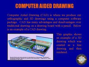 COMPUTER AIDED DRAWING Computer Aided Drawing CAD is