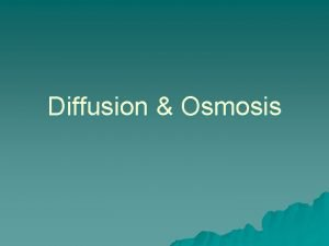 Diffusion Osmosis Diffusion The movement of molecules from