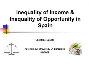Inequality of Income Inequality of Opportunity in Spain