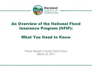 An Overview of the National Flood Insurance Program