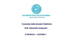 Dipartimento di Economia delle Aziende Pubbliche Prof Antonello