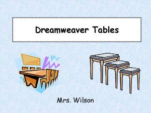 Dreamweaver Tables Mrs Wilson Prior Knowledge What HTML