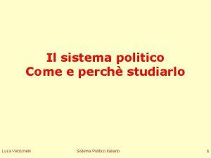 Il sistema politico Come e perch studiarlo Luca