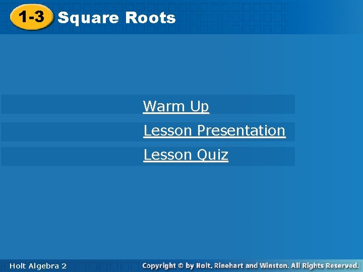 1 3 Square Roots Warm Up Lesson Presentation