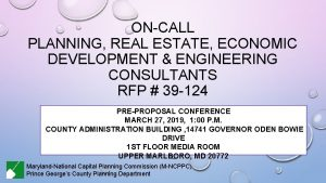 ONCALL PLANNING REAL ESTATE ECONOMIC DEVELOPMENT ENGINEERING CONSULTANTS