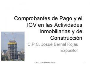 Comprobantes de Pago y el IGV en las
