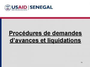 Procdures de demandes davances et liquidations 1 a