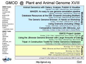 GMOD Plant and Animal Genome XVIII Saturday 1
