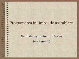 Programarea in limbaj de asamblare Setul de instructiuni