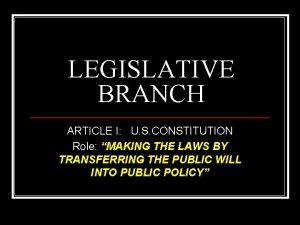 LEGISLATIVE BRANCH ARTICLE I U S CONSTITUTION Role
