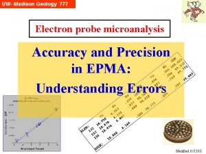 Electron probe microanalysis Accuracy and Precision in EPMA