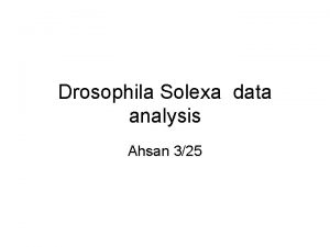 Drosophila Solexa data analysis Ahsan 325 Promoter Promoter