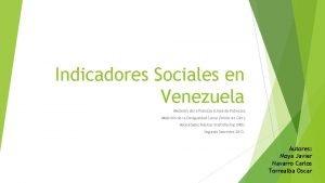 Indicadores Sociales en Venezuela Medicin de la Pobreza