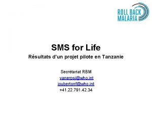 SMS for Life Rsultats dun projet pilote en