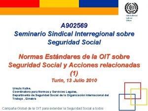 International Labour Office A 902569 Seminario Sindical Interregional