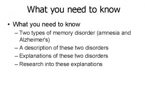 What you need to know What you need