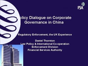 Policy Dialogue on Corporate Governance in China Regulatory