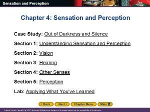 Sensation and Perception Chapter 4 Sensation and Perception