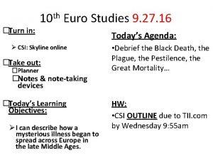 Turn in 10 th Euro Studies 9 27