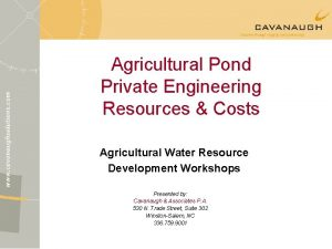 Agricultural Pond Private Engineering Resources Costs Agricultural Water