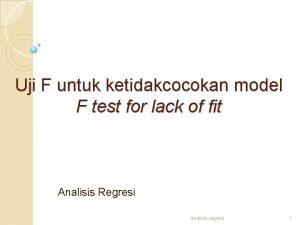Uji F untuk ketidakcocokan model F test for