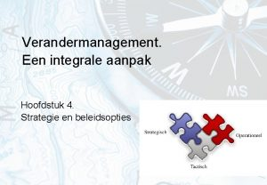 Verandermanagement Een integrale aanpak Hoofdstuk 4 Strategie en