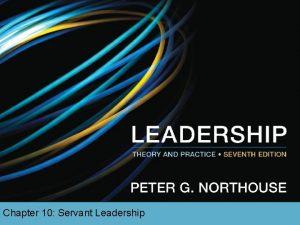 Chapter 10 Servant Leadership Overview Servant Leadership Description