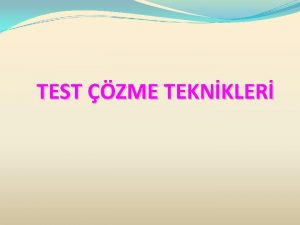 TEST ZME TEKNKLER TEST ZME TEKNKLER YGS ve