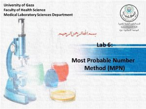 Lab 6 Most Probable Number Method MPN Most