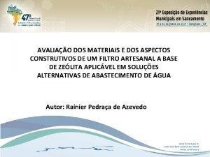 AVALIAO DOS MATERIAIS E DOS ASPECTOS CONSTRUTIVOS DE