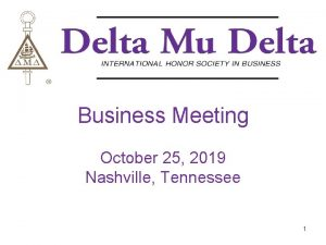 Business Meeting October 25 2019 Nashville Tennessee 1