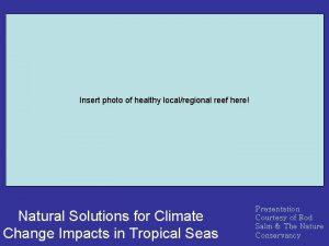 Insert photo of healthy localregional reef here Natural