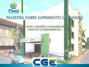 PALESTRA SOBRE SUPRIMENTO DE FUNDOS DARCY SIQUEIRA ALBUQUERQUE
