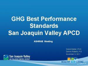 GHG Best Performance Standards San Joaquin Valley APCD