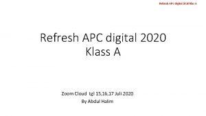 Refresh APC digital 2020 klas A Refresh APC