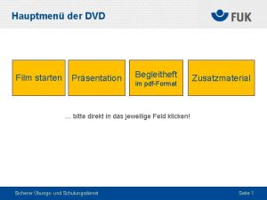 Hauptmen der DVD Film starten Prsentation Begleitheft im