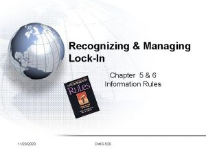Recognizing Managing LockIn Chapter 5 6 Information Rules