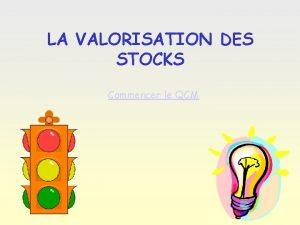 LA VALORISATION DES STOCKS Commencer le QCM Question