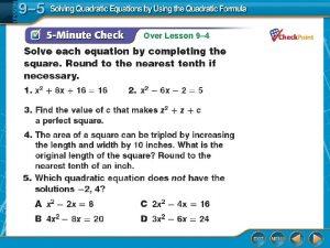 Over Lesson 9 4 Over Lesson 9 4