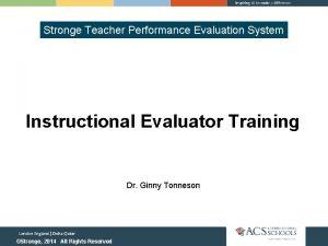 Stronge Teacher Performance Evaluation System Instructional Evaluator Training