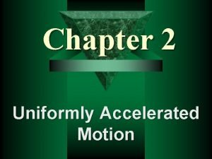 Chapter 2 Uniformly Accelerated Motion Speed Velocity Acceleration