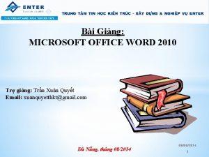 Bi Ging MICROSOFT OFFICE WORD 2010 Tr ging