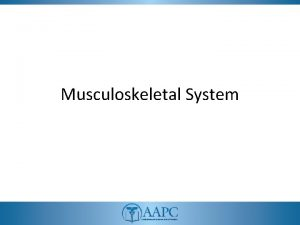 Musculoskeletal System CPT copyright 2011 American Medical Association