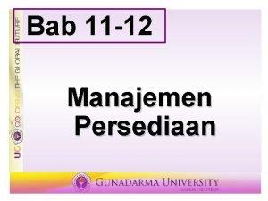 Bab 11 12 Manajemen Persediaan Persediaan Stok barang