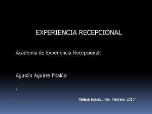 EXPERIENCIA RECEPCIONAL Academia de Experiencia Recepcional Agustn Aguirre