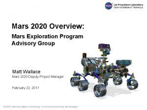 Mars 2020 Overview Mars Exploration Program Advisory Group
