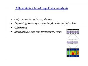 Affymetrix Gene Chip Data Analysis Chip concepts and