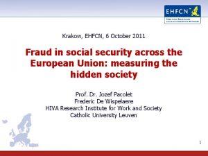 Krakow EHFCN 6 October 2011 Fraud in social