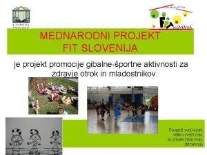 MEDNARODNI PROJEKT FIT SLOVENIJA je projekt promocije gibalneportne